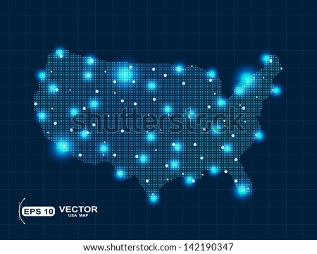 pixel USA map - stock vector