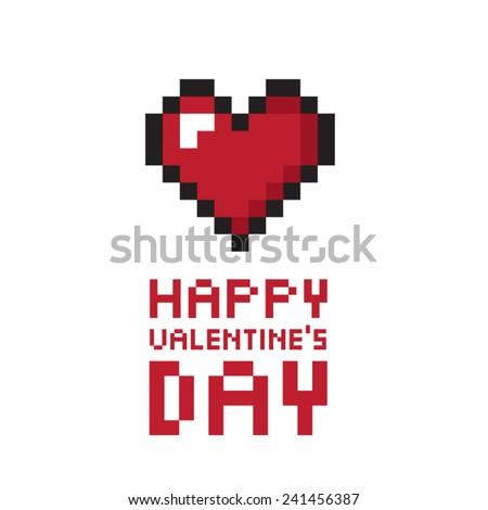 Pixel valentine's day background. Vector illustration. - stock vector