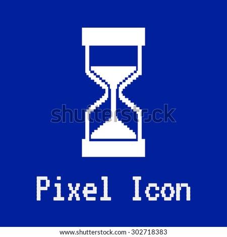 pixel vector icon of hourglass - stock vector