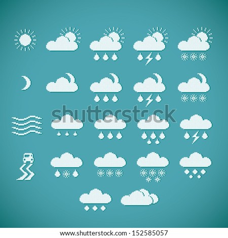 Pixel weather icons on blue vintage background, vector - stock vector