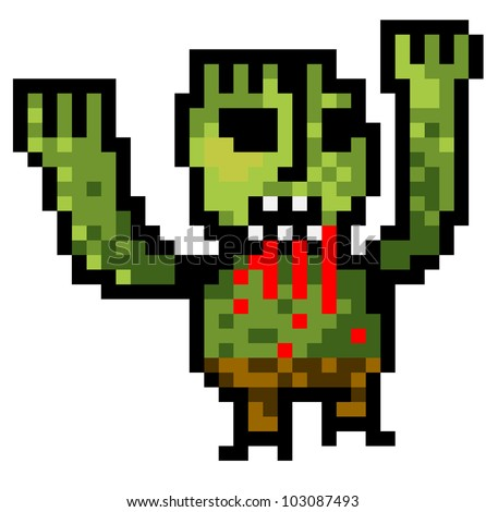 pixel zombie with bloody mouth - stock vector