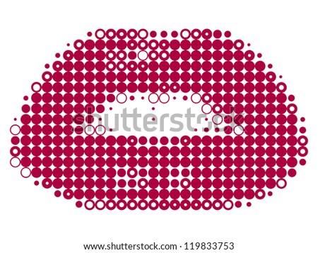 Pixelated female lips isolated on white vector illustration - stock vector