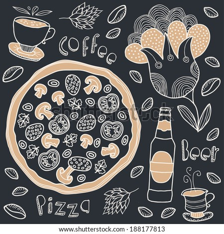 pizza and coffee  - stock vector