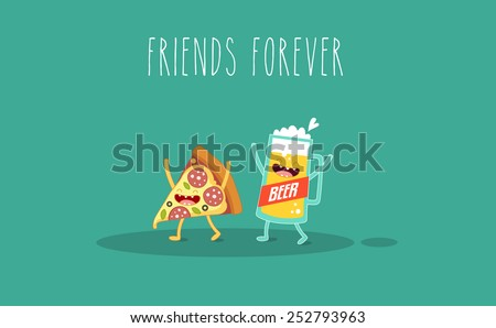 Pizza and glass of beer. Fastfood. Vector cartoon. Friends forever. ?omic characters. - stock vector