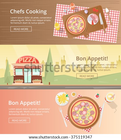Pizza banners poster, top view: chefs cooking a tasty Pizza. Pizza ingredients and wooden worktop. Pizza shop and bakery. Pizza eating  top view. Pizza dinner. Pizza ingredient. Pizza icon - stock vector
