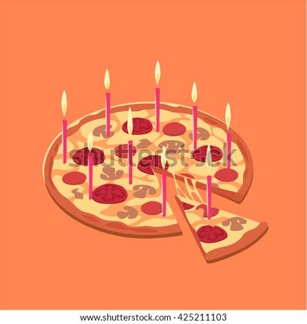 Pizza birthday cake. Concept vector illustration. - stock vector