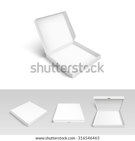 Pizza Box Cardboard Packaging Package Vector Set Isolated on White Background - stock vector