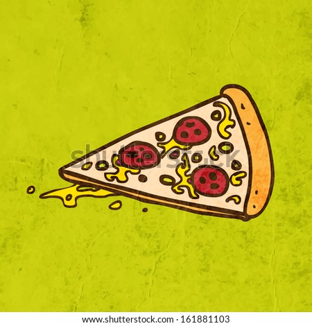 Pizza. Cute Hand Drawn Vector illustration, Vintage Paper Texture Background - stock vector