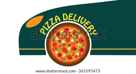 Pizza delivery banner. Fast food delivery. ?ourier pizza. Pizza delivery car.  - stock vector
