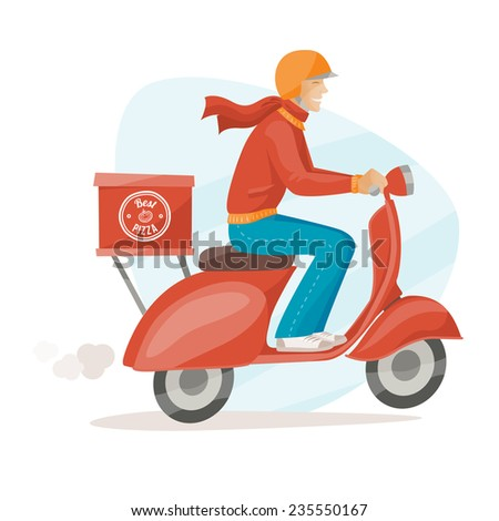 Pizza delivery guy at work on a red scooter - stock vector