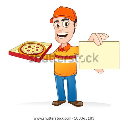 Pizza delivery man showing name card and holding pizza box - stock vector