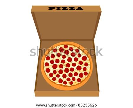 Pizza Delivery - Pepperoni Pizza in Box - Vector Illustration - stock vector