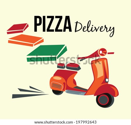 Pizza delivery,retro style poster - stock vector