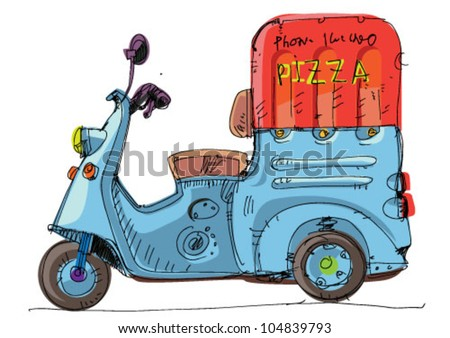 pizza delivery - scooter - cartoon - stock vector