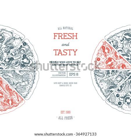 Pizza design template. Vector illustration - stock vector