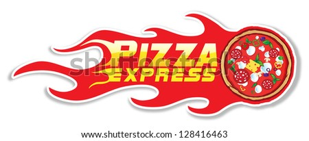 pizza  flames project 1/pizza express - stock vector