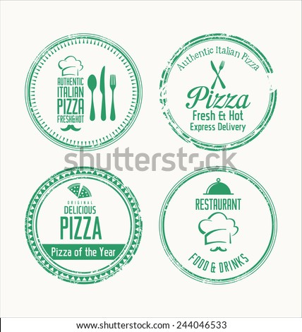 Pizza grunge rubber stamps - stock vector