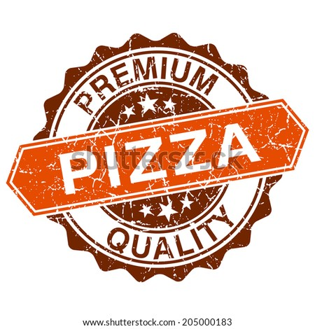 Pizza grungy stamp isolated on white background - stock vector