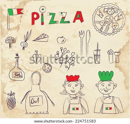 Pizza hand drawn elements - retro design on paper texture vector - stock vector