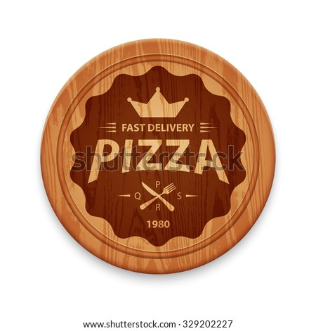Pizza hipster label or badge on round cutting board, vector design template - stock vector