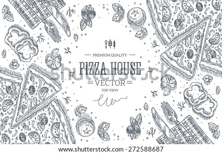 Pizza House top view frame.Design template. Vector illustration - stock vector
