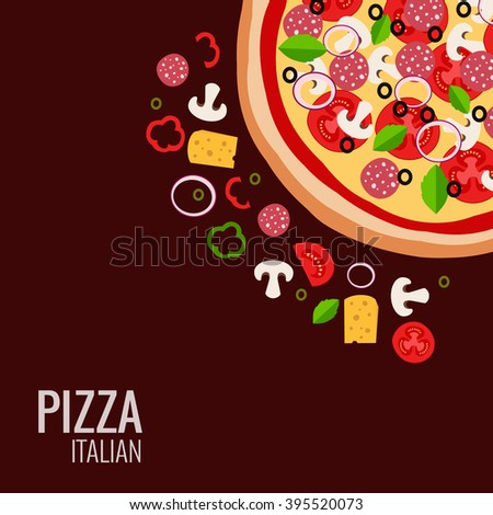 Pizza icon background. Pizza icon flat design.  Flat illustration of pizza ingredient for pizza menu. Vector pizza  ingredient collection. Pizza icon. Pizza isolated  background. Pizza piece food  - stock vector