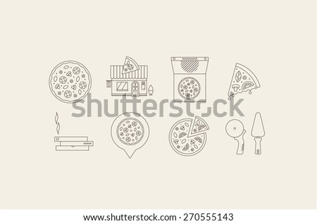 pizza icons - stock vector