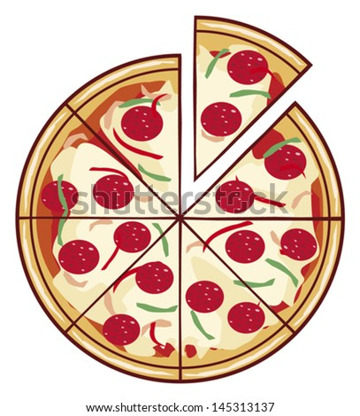 pizza illustration with a slice  - stock vector
