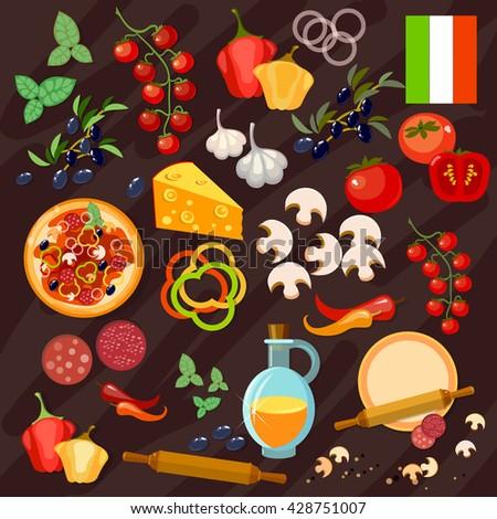 Pizza ingredients collection pizzeria Italian food preparing pizza vector - stock vector