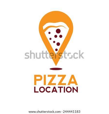 pizza location concept vector design template - stock vector