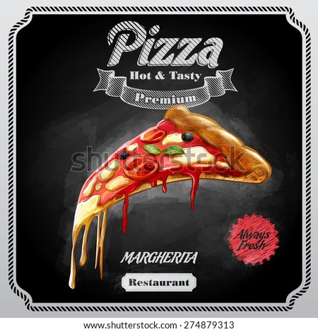pizza margherita - stock vector