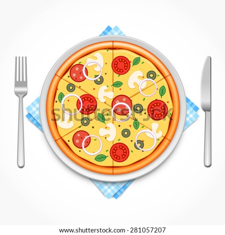 Pizza on a plate with fork and knife - stock vector