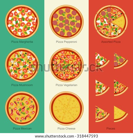 Pizza on the background Italian flag. Set of pizzas with different ingredients - stock vector