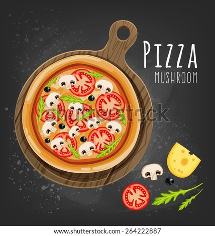 Pizza on the board and the ingredients for the pizza on the chalkboard  - stock vector