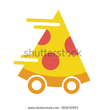 Pizza on the wheels. Pizza delivery fast flat vector icon on white background - stock vector