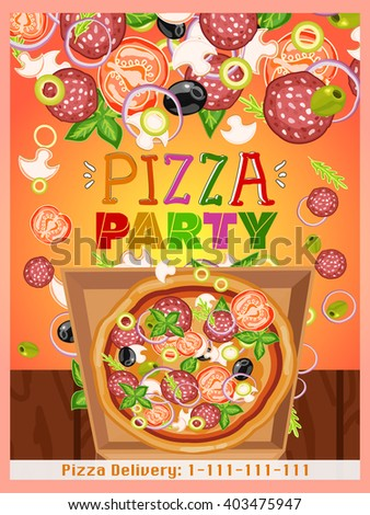 Pizza party template fresh ingredients for pizza design template hand drawn vector illustration - stock vector