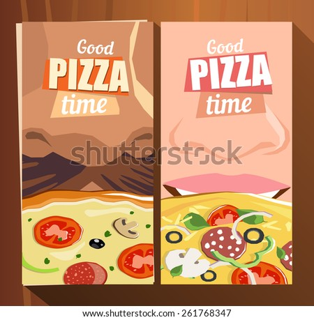 Pizza poster, brochure cover, flyer, banner template. Advertising design. - stock vector