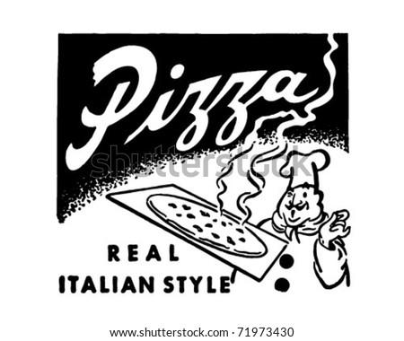 Pizza - Retro Ad Art Banner - stock vector