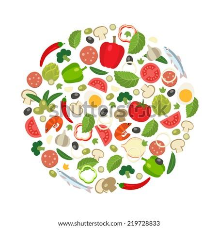 Pizza round, cartoon flat style illustration - stock vector