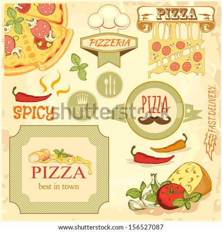 pizza slice and ingredients background,  box label packaging design - stock vector