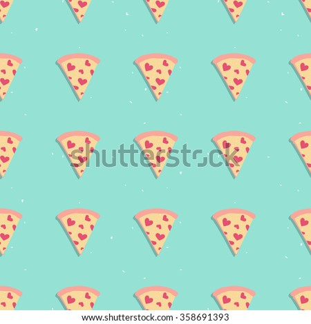 Pizza slice cute seamless pattern with hearts on blue background, perfect for packaging, restaurant and cafe menu, valentine card and much more - stock vector