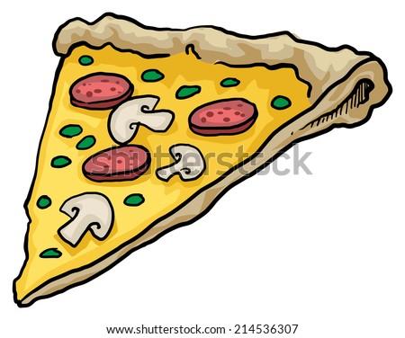 Pizza slice, vector illustration - stock vector