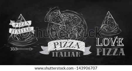 Pizza symbol, icons and a slice of pizza with the inscription Italian stylized drawing with chalk on the blackboard - stock vector