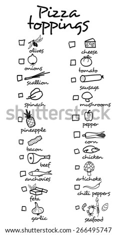 Pizza toppings for pizza menu. You can tick the ingredients for your own pizza. - stock vector