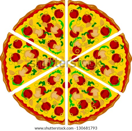 Pizza triangle shape with mushrooms cheese and several ingredients on it. Airbrush illustration - stock vector