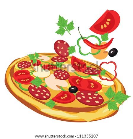 pizza, vector illustration - stock vector