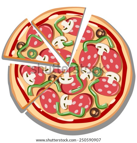 pizza. Vector illustration - stock vector