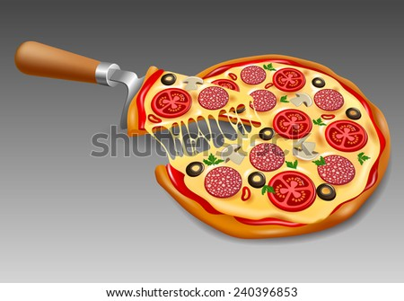 pizza with paddle - stock vector