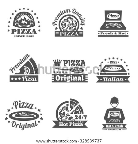 Pizzeria and pizza delivery premium quality label set isolated vector illustration - stock vector