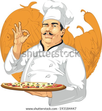Pizzeria Chef Holding Pizza Pan - stock vector